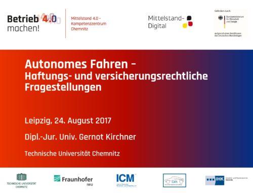Autonomes Fahren – Haftungs- und versicherungsrechtliche Fragestellungen