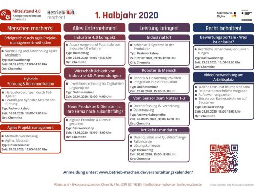 Veranstaltungsübersicht für das erste Halbjahr 2020