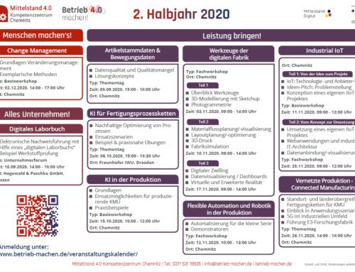 Veranstaltungsübersicht für das zweite Halbjahr 2020